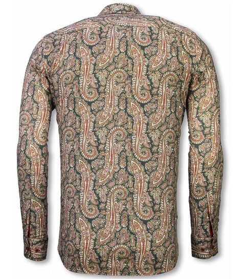 TONY BACKER Italiaanse Overhemden - Slim Fit Overhemd - Blouse Cashemira Paisley Pattern - Groen