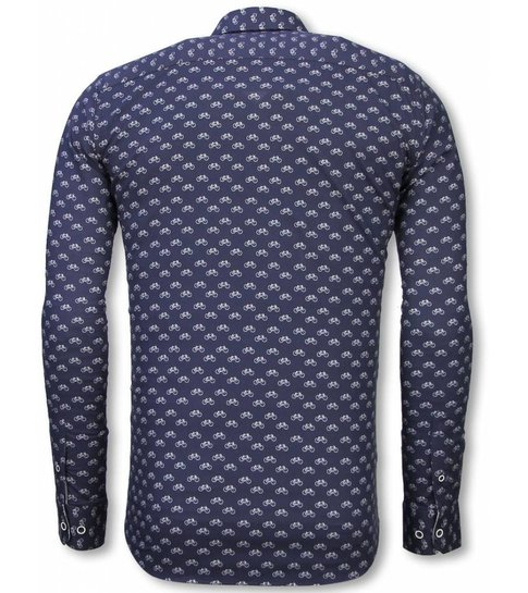 Blouse Overhemd.Italiaanse Overhemden Slim Fit Overhemd Blouse Bicycle Pattern