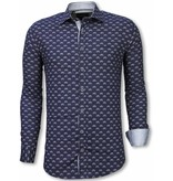 Gentile Bellini Italiaanse Overhemden - Slim Fit Overhemd - Blouse Bicycle Pattern - Blauw