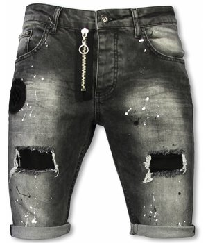 Enos Korte Broek Heren - Slim Fit Denim Short Fake Zipper Jeans - Grijs