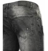Enos Korte Broek Heren - Slim Fit Denim Short Fake Zipper Jeans - Grijs