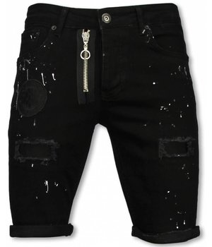 Enos Korte Broek Heren - Slim Fit Denim Short Fake Zipper Jeans - Zwart