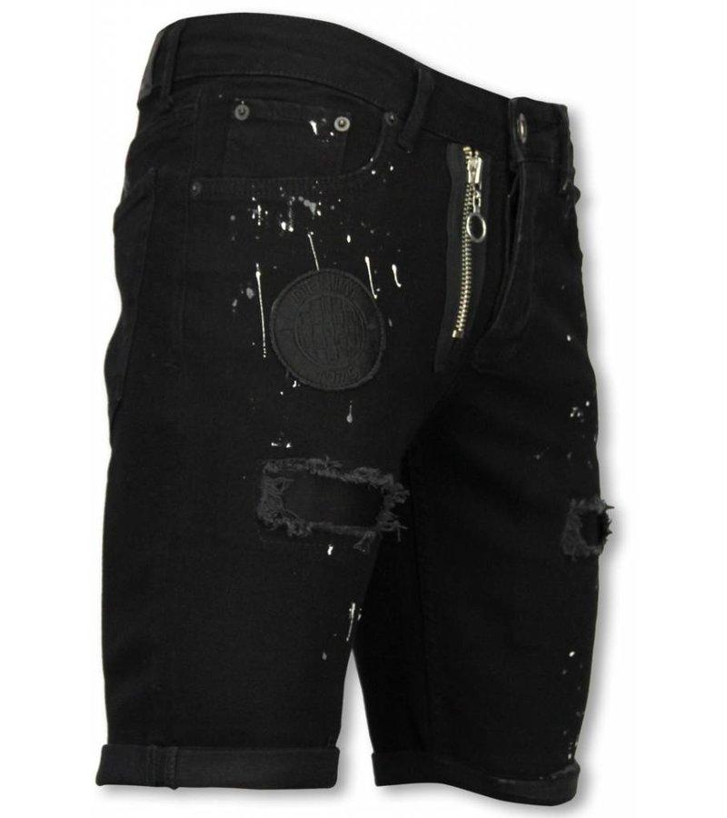 Enos Korte Broek Heren - Slim Fit Denim Short Fake Zipper Jeans - Zwart