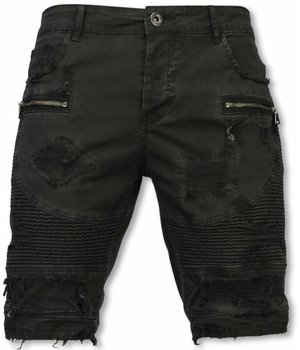 Enos Korte Broek Heren - Slim Fit Damaged Biker Jeans With Zippers - Zwart