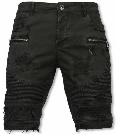 Enos Korte Broek Heren - Slim Fit Damaged Biker Jeans With Zippers - Zwart