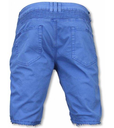 Enos Korte Broek Heren - Slim Fit Damaged Biker Jeans With Zippers - Blauw