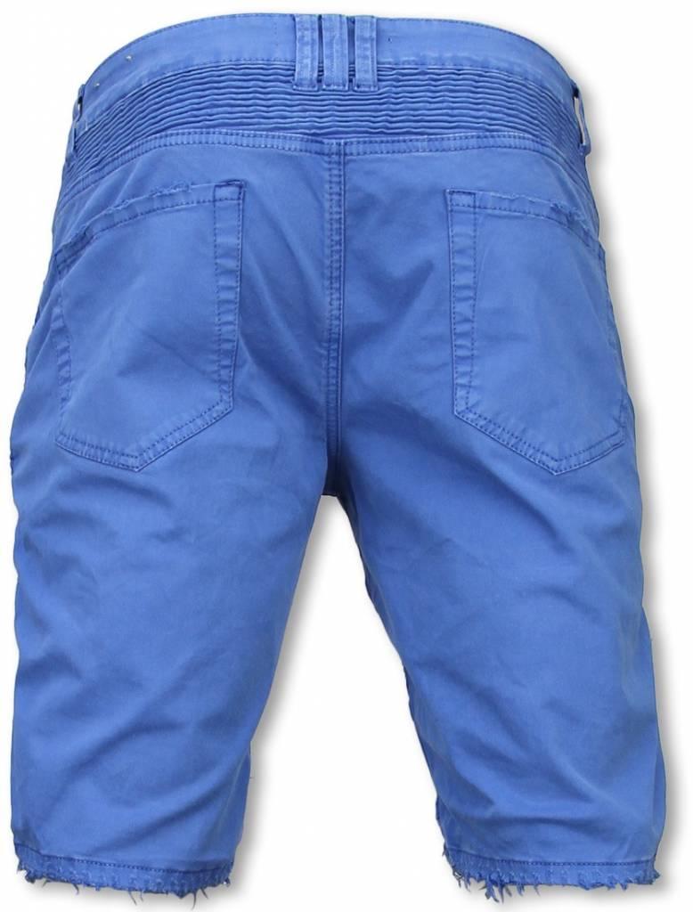 Korte Broek Heren Blauw.Korte Broek Heren Slim Fit Damaged Biker Jeans With Zippers