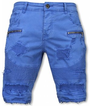 Enos Korte Broek Heren - Slim Fit Damaged Biker Jeans With Zippers - Blauw