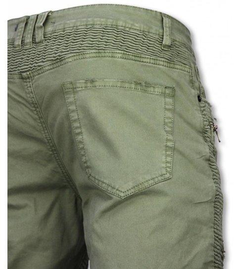Enos Korte Broek Heren - Slim Fit Damaged Biker Jeans With Zippers - Groen