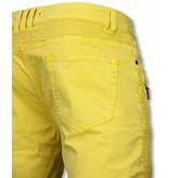 Enos Korte Broek Heren - Slim Fit Damaged Biker Jeans With Zippers - Geel