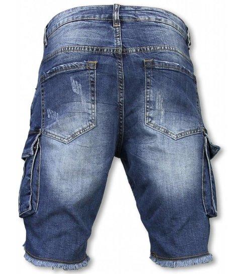 Enos Korte Broek Heren - Slim Fit Biker Denim Pocket Jeans - Blauw