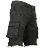 Enos Korte Broek Heren - Slim Fit Biker Pocket Jeans - Zwart