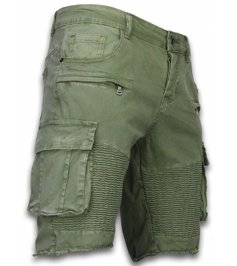Korte Broek Heren Slim Fit Biker Pocket Jeans Groen