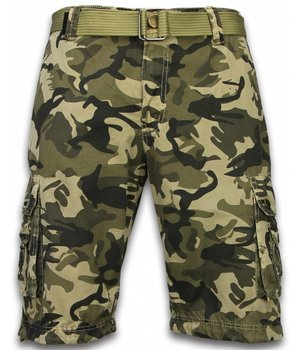 Forex Korte Broek Heren - Camo Regular Fit Side Pocket Canvas Riem - Beige