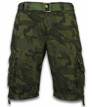 Forex Korte Broek Heren - Camo Regular Fit Side Pocket Canvas Riem - Groen