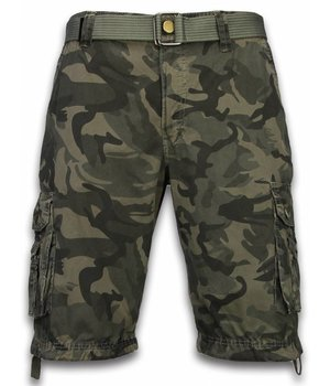 Forex Korte Broek Heren - Camo Regular Fit Side Pocket Canvas Riem - Grijs