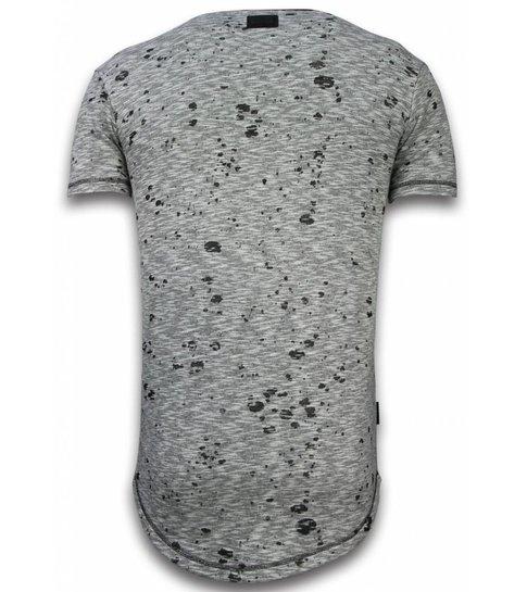 Local Fanatic Longfit Asymmetric Embroidery - T-Shirt Patches - Guerrilla - Grijs