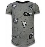 Local Fanatic Longfit Asymmetric Embroidery - T-Shirt Patches - Rockstar - Grijs