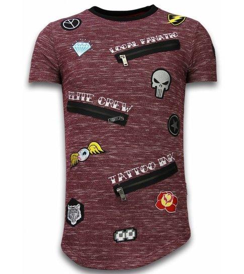 Local Fanatic Longfit Asymmetric Embroidery - T-Shirt Patches - Elite Crew - Bordeaux