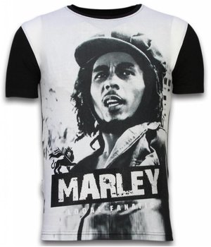 Local Fanatic Bob Marley Black And White - Digital Rhinestone T-shirt - Zwart