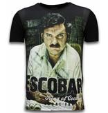 Local Fanatic Escobar King Of Cocaine - Digital Rhinestone T-shirt - Zwart