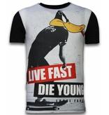 Local Fanatic Duck Live Fast - Digital Rhinestone T-shirt - Zwart