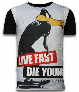 Local Fanatic Duck Live Fast - Digital Rhinestone T-shirt - Zwart