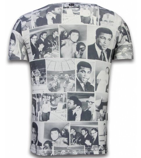Local Fanatic Muhammad Photocollage - Digital Rhinestone T-shirt - Wit