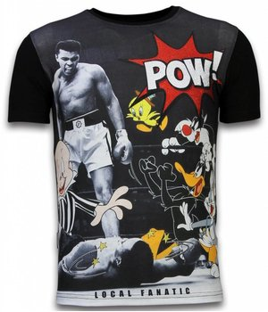 Local Fanatic Ali vs. Cartoons - Digital Rhinestone T-shirt - Zwart