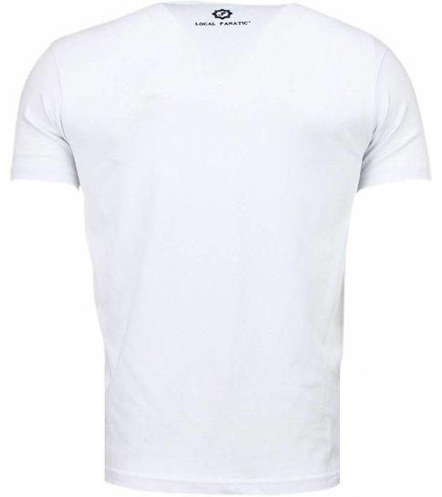 Local Fanatic Palm Beach Pamela  - Digital Rhinestone T-shirt - Wit