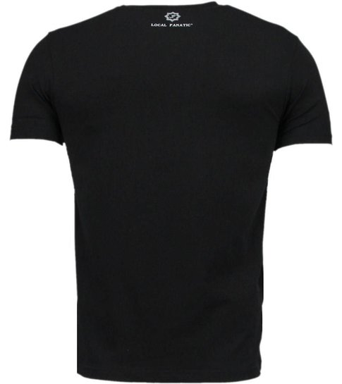 Local Fanatic Caution - Digital Rhinestone T-shirt - Zwart