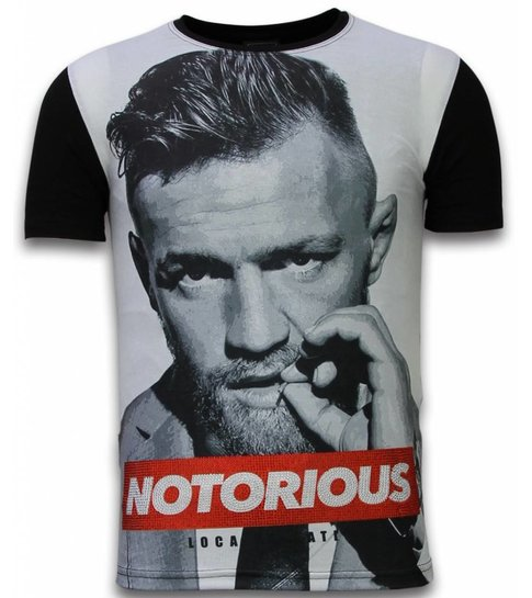 Local Fanatic McGregor Notorious - Digital Rhinestone T-shirt - Zwart