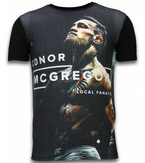 Local Fanatic McGregor Cocks - Digital Rhinestone T-shirt - Zwart