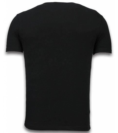 TONY BACKER The Golden Boy - Digital Rhinestone T-shirt - Zwart