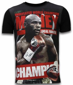Local Fanatic Money Champion - Digital Rhinestone T-shirt - Zwart
