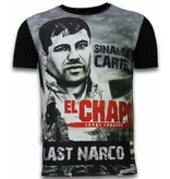 Local Fanatic El Chapo Last Narco - Digital Rhinestone T-shirt - Zwart