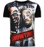 Local Fanatic Showtime - Digital Rhinestone T-shirt - Zwart