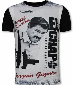 Local Fanatic El Chapo - Digital Rhinestone T-shirt - Zwart