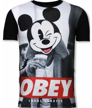 Local Fanatic Obey Mouse  - Digital Rhinestone T-shirt - Zwart