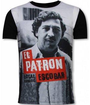 Local Fanatic El Patron Escobar - Digital Rhinestone T-shirt - Zwart
