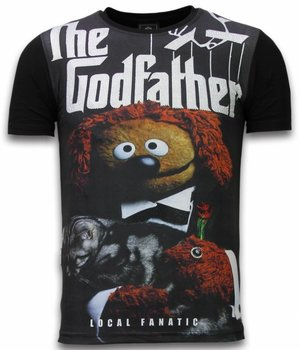 Local Fanatic The Godfather Dog - Digital Rhinestone T-shirt - Zwart