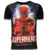 Local Fanatic Superhero  - Digital Rhinestone T-shirt - Zwart