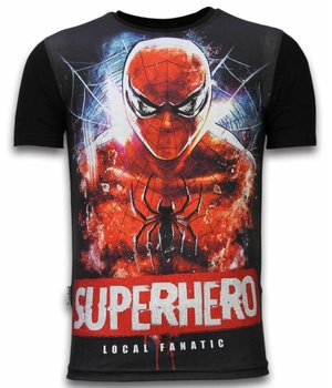 Local Fanatic Superhero  - Digital Rhinestone T-shirt - Zwart