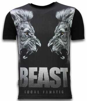 Local Fanatic Beast - Digital Rhinestone T-shirt - Zwart