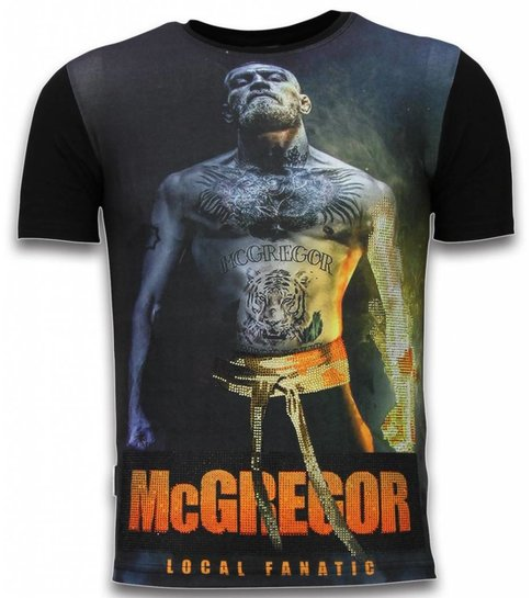 442e96712c5a5a ... Local Fanatic McGregor Fire Arm - Digital Rhinestone T-shirt - Zwart ...