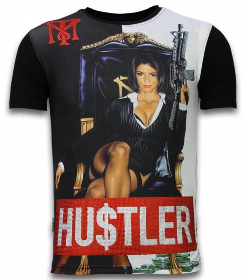 Local Fanatic Hu$tler - Digital Rhinestone T-shirt - Zwart