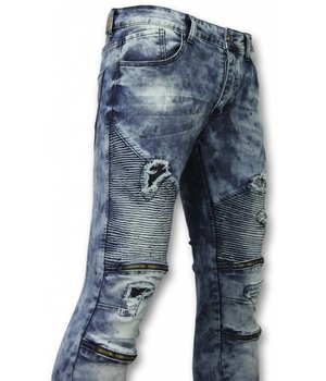 Urban Rags Exclusieve Biker Jeans - Slim Fit Ripped Jeans With Paint Drops - Blauw