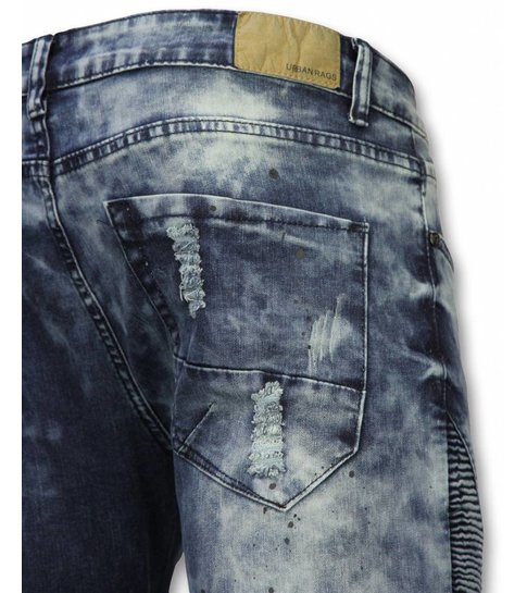 TRUE RISE Exclusieve Biker Jeans - Slim Fit Ripped Jeans With Paint Drops - Blauw