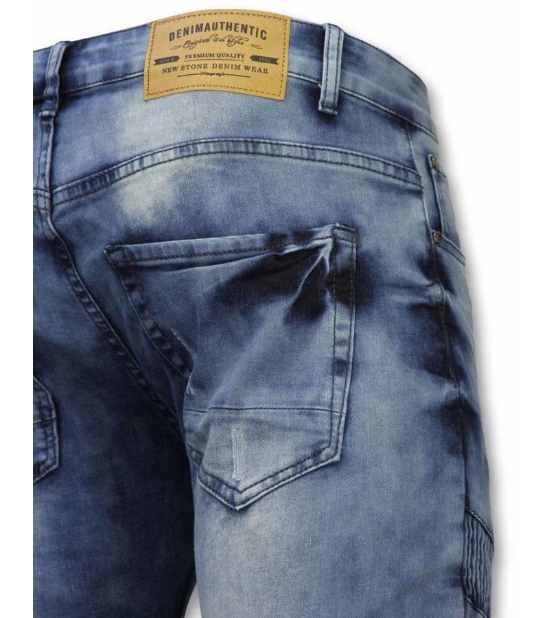 New Stone Exclusieve Jeans - Slim Fit Ripped Metal Parts Jeans - Blauw