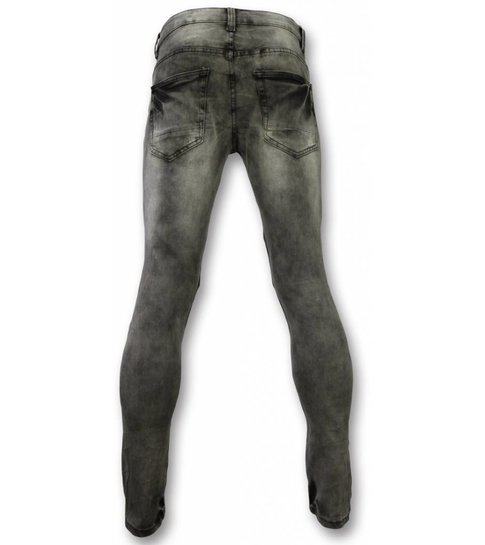 New Stone Exclusieve Jeans - Slim Fit Ripped Metal & Zipper Parts Jeans - Grijs